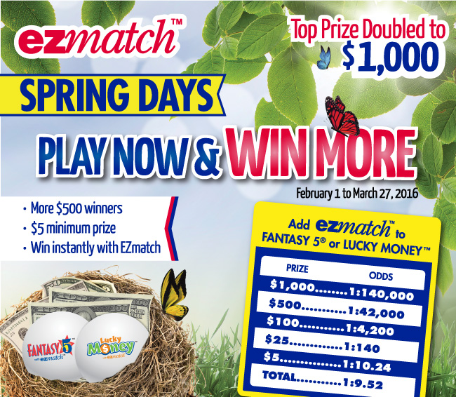 Play Now and Win More from February 1 to March 27, 2016 - Fantasy 5 with EZmatch