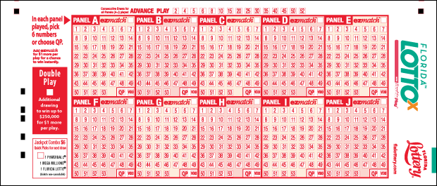 FLORIDA LOTTO with DOUBLEPLAY playslip