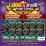 $1000 A WEEK FOR LIFE Scratch-Off Ticket