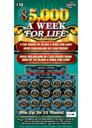 $5000 A WEEK FOR LIFE Scratch-Off Ticket