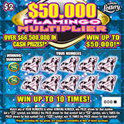$50,000 FLAMINGO MULTIPLIER Scratch-Off Ticket
